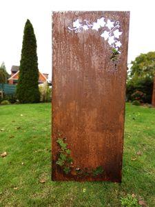 Sichtschutz Sichtschutzelement Stele Wand Edelrost Rost 150 x 62 cm inkl. Bodenanker Ranken