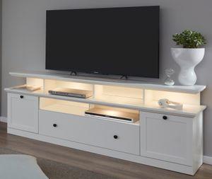 TV-Lowboard in weiß Landhaus Fernsehtisch Komforthöhe 66 cm inklusive TV-Podest Breite 177 cm - Trendteam Baxter