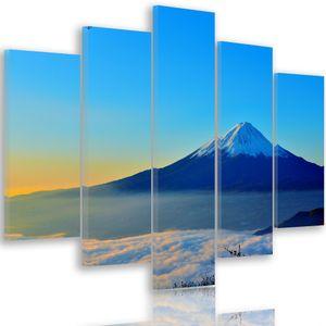 Bilder Berg 300x140 cm - Leinwandbild 5-teilig XXL Kunstdruck Landschaft blau