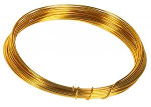 10m Meter Basteldraht 1mm, Schmuckdraht Aludraht Dekodraht Aluminiumdraht rostfreier Draht in Gold