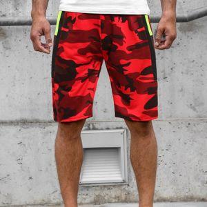 Herren Sommer Casual Fitness Bodybuilding Camouflage bedruckte Sporthose Hosen Größe:L,Farbe:Rot