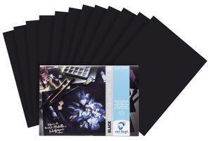 Aquarellpapier, Schwarz, A4, 360 g/qm, 12 Blatt
