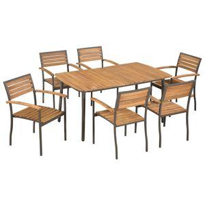 Gartenmöbel Essgruppe 6 Personen ,7-TLG. Terrassenmöbel Balkonset Sitzgruppe: Tisch mit 6 Stühle, Akazie Massivholz und Stahl❀3639