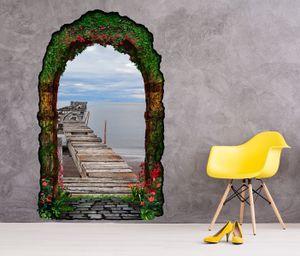 3D Wandtattoo geheime Tür alt Pier Steg Holz Meer Retro Ozean Gartentor Gewölbe Durchbruch Wand Aufkleber Wandsticker 11FN142, Größe in cm:97cmx160cm