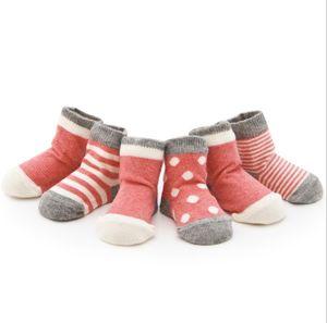 4 Paar Baby-Baumwollsocken, Neugeborenen-Socken, Jungen und Mädchen (pink M)
