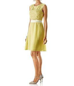 Ashley Brooke Damen Designer-Spitzen-Plisseekleid, vanille, Größe:40