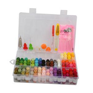 Stickgarn Set Embroidery Floss 100 Farben Threads Nähgarne mit Nähzubehör und Box für Stickerei, Basteln, Kreuzstich, Freundschaftsbänder