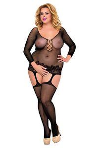 schwarzes Netz-Catsuit ouvert 6274, Bodystocking von Softline Plus Size
