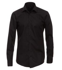 Größe 43 Venti Hemd Schwarz Uni 69er Extralanger Arm Modern Fit Tailliert Kentkragen 100% Baumwolle Bügelfrei