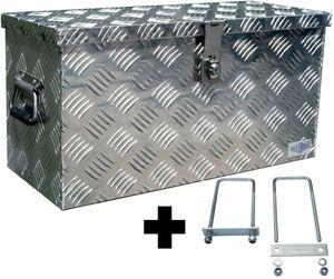 Truckbox D040 + inkl. Montagesatz MON5002 Deichselbox, Werkzeugbox, Alu Riffelblech, Transportbox, Alu Transportkiste, Anhängerkiste - ca. 40 Liter