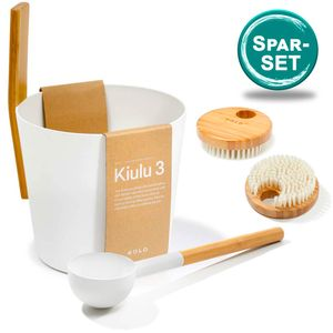 SET> KOLO Sauna Kübel 3 + Kelle weiss + 2x Bürste