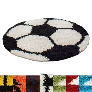 Kinderteppich für Kinderzimmer Fussball Basketball Hochflor Teppich, Farbe:Schwarz-Weiss, Grösse:120 cm Rund