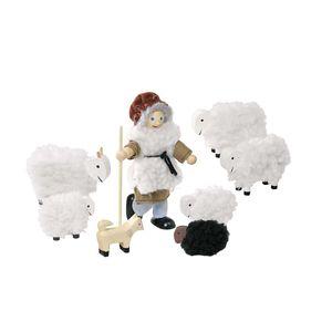 goki SO201 Biegepuppen Schäfer mit Herde, mehrfarbig (1 Set)