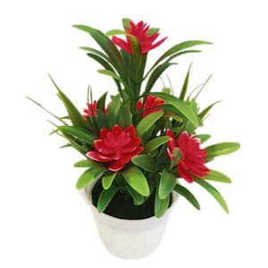 Künstliche Gefälschte Lotus Blume Topfpflanze Bonsai Hochzeit Garten Wohnkultur Rot ALCYONEUS1