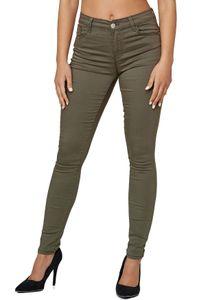 Damen Denim Stretch Jeans Skinny Fit Push Up High Waist Hose Basic 5-Pocket Design Pants, Farben:Khaki, Größe:40