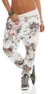 130_Damen Hose Sweatpants Jogginghose Freizeithose Blumen Weiß