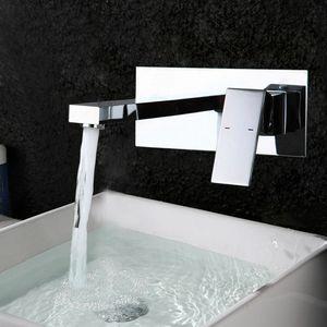 Unterputz Wasserhahn Armatur Mischbatterie Wand Waschtischarmatur Wasserfall Waschbecken Armatur Badarmatur Wandarmatur