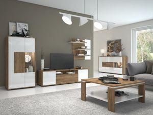 Wohnzimmer-Einrichtung Wohnzimmer Komplett - Set B Manase, 5-teilig, Farbe: Eiche Braun / Weiß Hochglanz