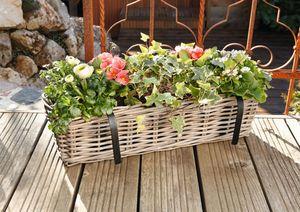 "Balkon-Pflanzer ""Rattan"" groß Pflanzkorb Blumenkorb Pflanzkasten"