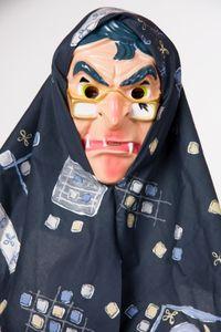 Kostüm Zubehör Maske Hexe Hexenmaske mit Kopftuch Fasching Karneval