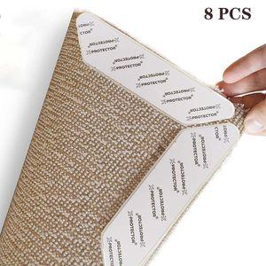 Teppichgreifer Antirutschmatte, 8 Stück Antirutschmatte für Teppich, Rug Grippers Rutschfester Teppichunterlage, Washable Wiederverwendbar Teppich Aufkleber Starke Klebrigkeit