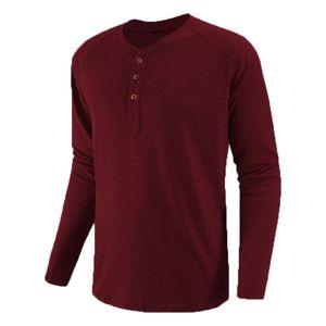 Herren Einfarbig Eng Anliegendes Langarm-Henley-Hemd-Oberteil Mit Rundhalsausschnitt Lässiges T-Shirt,Farbe: Rotwein,Größe:M