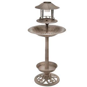 Vogeltränke mit LED Beleuchtung, Solar, Bronze, Höhe 105 cm