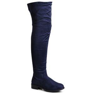 topschuhe24 1932 Damen Overknee Stiefel Krempelschaft, Farbe:Blau, Größe:39 EU