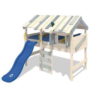 WICKEY Kinderbett Hochbett CrAzY Lagoon mit Rutsche Hausbett 90 x 200 cm, Etagenbett