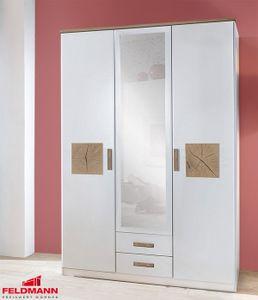 Kleiderschrank Schlafzimmerschrank Kaernten weiß / hirnholzfarben 135cm