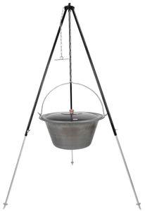 Gulaschkessel 30 Liter Eisen Deckel Teleskopgestell 180 cm Kettenhöhenverstellung