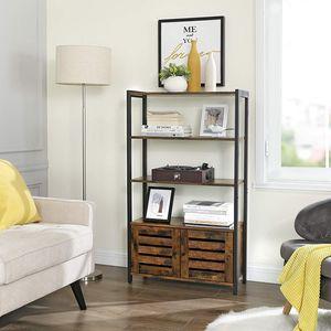 VASAGLE Bücherregal mit 3 Ablagen und 2 Türen 121,5 x 70 x 30 cm im Industrie-Design Vintage Kommode multifunktional LSC75BX