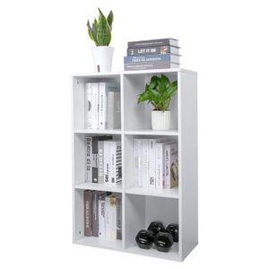 Meerveil Bücherregal aus Holz, Bücherschrank mit 6 Fächer, Dreischichtige Aufbewahrungsschrank für Bücher und DVDs, Standregal, Weiß