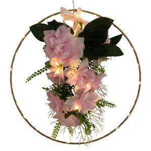 Metallring beleuchtet mit Rosenbouquet und Schleife - Blumenkranz mit LED Beleuchtung - Türkranz, Fensterkranz - Deko Frühling Sommer