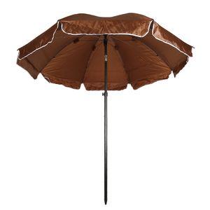 MIPAN Sonnenschirm Ø 200cm Marktschirm UV Schutz Sonnenschutz Gartenschirm aus Polyester Braun