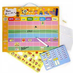 Lern-Spiel magnetischer Wochenplaner für Kinder I Tafel mit Magneten zum aufhängen I Bunt I Kalender abwischbar mit Stift I dv_719