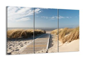 "Leinwandbild - 105x70 cm - ""Hinter der Düne, im Rascheln des Grases""- Wandbilder - Meer Strand Düne - Arttor - CE105x70-2657"