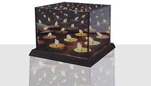 Teelichtalter 3D Effect Für 4 Teelichter Teelicht Würfel Spiegel Teelichthalter aus Glas  L x B x H 16 x 16 x 12 cm  Grau