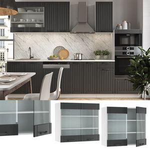 Vicco Hängeglasschrank 80 cm FAME Line Küchenschrank Küchenzeile Landhaus Anthrazit