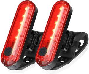 OUYIFAN Wiederaufladbare USB-LED-Fahrradrücklichter 2er-Pack, helle Fahrrad-Sicherheitstaschenlampe hinten, 330-mAh-Lithiumbatterie, 4 Optionen für den Lichtmodus (2 USB-Kabel enthalten)