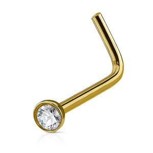 Autiga Nasenpiercing Stecker Nasenstecker Stift Nasen Piercing gebogen L-Form Zirkonia Kristall gold-klar 0,8 mm