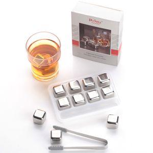 Premium Edelstahl Eiswürfel 8er Set Whisky Steine Kühlsteine Cocktail Bar Drink 1x 8er-Set Silber