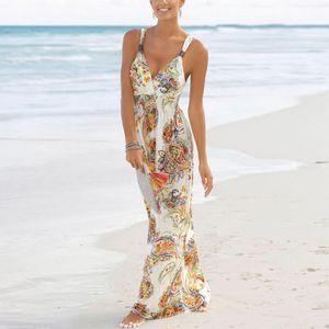 Damen y Floral Strapskleid Am Meer Urlaub Strandkleid,Farbe: Weiß,Größe:M