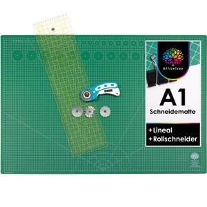 OfficeTree Set Schneidematte A1 grün + Rollschneider + Lineal 60x16 cm - für professionelle Schnittarbeiten