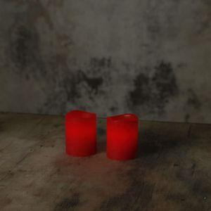 LED Kerzenset MAY - Echtwachs - flackernde LED - Timer - H:6cm, D:5cm - 2er Set - rot