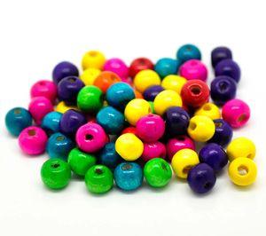 1000 bunte Holz-Perlen 8x6mm Holzperlen Bastelperlen Fädelperlen