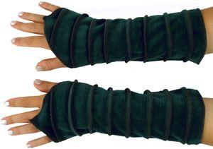 Handstulpen Armstulpen aus Samtstoff - Petrol, Unisex, Grün, Baumwolle, Handstulpen