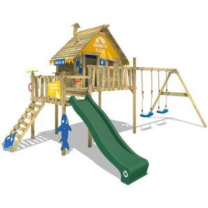 WICKEY Spielturm Klettergerüst Smart Bay mit Schaukel & grüner Rutsche, Stelzenhaus mit Kletterleiter & Spiel-Zubehör