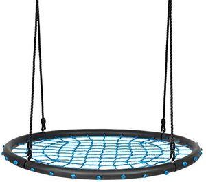 GOPLUS 100 cm Nestschaukel, Runde Tellerschaukel, Rundschaukel mit bis zu 100 kg Belastbar, 100–160 cm Verstellbar, mit Stahl-Rahmen, zum Aufh?ngen, für Kinder & Erwachsene, Outdoor & Indoor