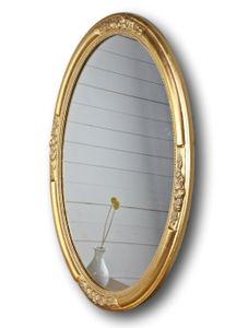 Wandspiegel SPIEGEL OVAL NEU gold Holz Verzierungen Badspiegel barock pompös